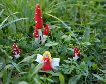 Fairy Garden Set. Fairy, Toadstool Castle With Toadstool Clusters. Fimo Clay Fairy Garden. Fairy model. Craft supplies. Miniature toys.