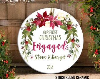 Engagement Ornament, Engaged Ornament, Mr and Mrs Ornament, Just Engaged Ornament, Custom Engagement Gift Bridal Shower Ornament Gift OCH128