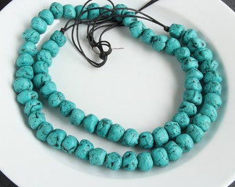 65 Amazonite Moroccan Pottery Beads Chunk - African Clay Beads - Jewelry Making Supplies - Made in Morocco