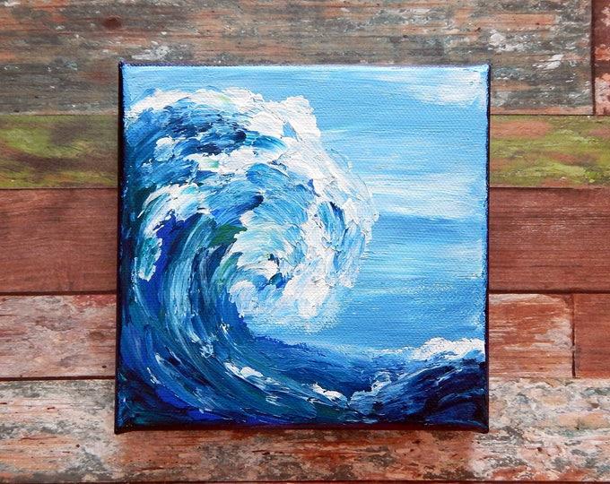 "Ocean Canvas Art | Wave Painting | Ocean Art | Beach Decor | 6x6 | ""The Sea is Making"" | Saltons Cove Studio"
