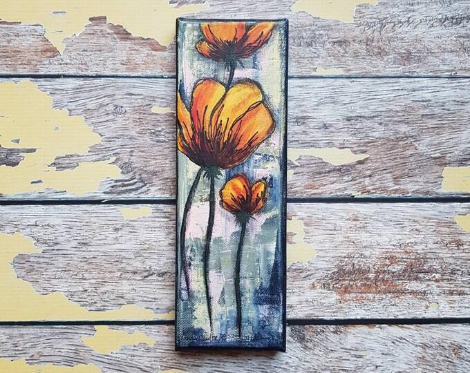 "Original Floral Painting | Flower Art | Original 3x9 Canvas | Poppy Art | Poppy Flower Painting | ""Fresh Cut"" | Saltons Cove Studio"