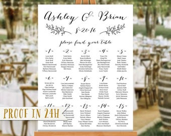 Wedding Seating Chart, Seating Chart Alphabetical, Seating Chart by Name, Seating Chart Poster, Rustic Seating Chart with Leaves - Ashley