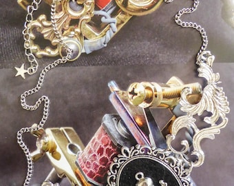 "Bib necklace cabochon silver felt Boho Chic Gothic steampunk ""Pirate Skulls"""