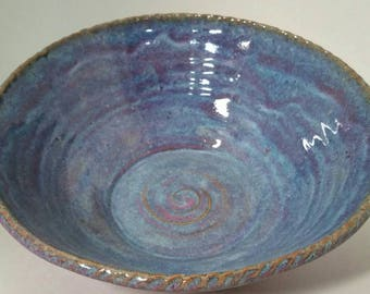 Blue and Purple Speckled Colored Salad, Pasta, Bread Serving Stoneware Bowl