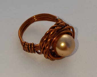 Wire Wrapped Ring Twisted Wire Copper Gold Faux Peal