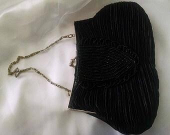 Purse Handbag Vintage Bijoux Terner Designer Black Evening Beaded Sateen Chain Silver Evening Gala Formal