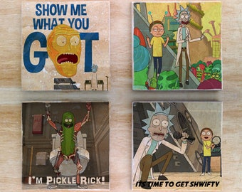 Rick and Morty stone coasters (set of 4) - Vintage Retro Cartoon Cartoon Network Shwifty Pickle Rick Show me what you got