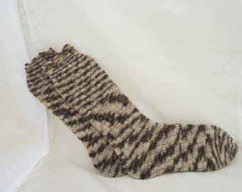 Knitted Socks, Swirls Socks, Spirals Socks, Socks Without Heel, Brown and Beige Swirl Socks