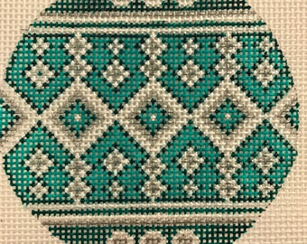 "Hand Painted Needlepoint Canvas  13 mesh Teal and Silver 4"" Ornament"