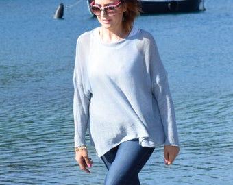 Blue Linen Jumper,Womans Linen Sweater,Linen Tunic Tops, Plus Size Tunic,  Lightweight Linen sweater, Linen Tunic Dress,Linen Boxy Sweater