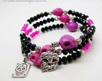 Sugar Skull Memory Wire Bracelet - Wrap Bracelet - Memory Bracelet - Day Of The Dead Bracelet - Pink Sugar Skull Theme - Skull Jewelry