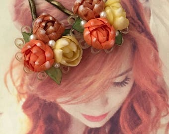 Decorative Hair Pins 1940's Shell Jewelry Floral Orange Brown Cream Mother Flower Bobby Hairpins