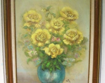 ON SALE Vintage Yellow Rose Floral Bouquet in a wooden framed signed oil painting