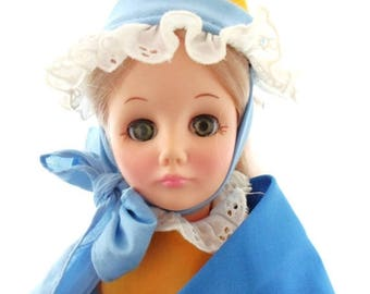 """ON SALE Vintage 1976 Effenbee Tales Of Mother Goose Doll, Storybook Collection, Blonde Hair, Green Sleep Eyes, 12"""" tall"""