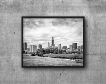 Chicago Skyline in Black and White from the museum campus - art photography print -  skyline view