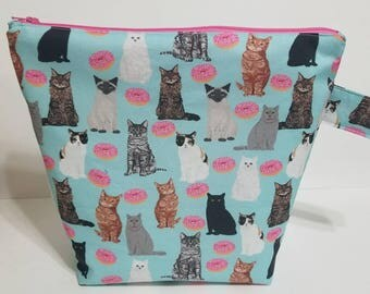 Cat Project Bag, Donut Project Bag, Large Project Bag, Knitting Project Bag, Crochet Bag, Knitting Pouch, Knitting Project Bag