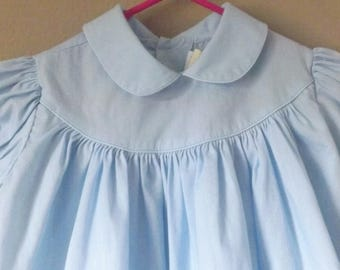 Little Girls Dresses, Baby Girls Classic Peter Pan Collar Dress, Blue Dress, Vintage Dresses, Vintage Kids Clothes