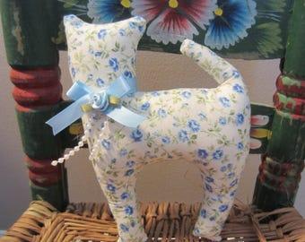 Cat Doll, Blue Petite Rose Fabric Cat, Pillow Tuck, Cottage Chic Cat, Cat Shape Pillow, Shelf Sitter, Stuffed Cat