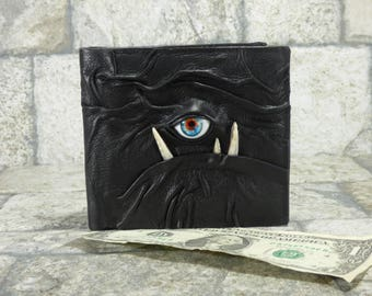 Leather Wallet Monster Face Harry Potter Labyrinth Fantasy Magic The Gathering Wiccan Horror Gothic Steampunk Fathers Day Gift