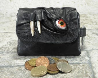 Leather Zippered Coin Purse Black Red Eye Change Purse Monster Face Pouch Key Ring Harry Potter Labyrinth