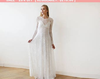 Round Neckline Bridal Lace Dress With Long Sleeves 1147