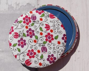 Liberty Fabric Covered Pocket Mirror Clemmie Red