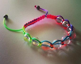 Adjustable Shamballa bracelet neon beads transparent