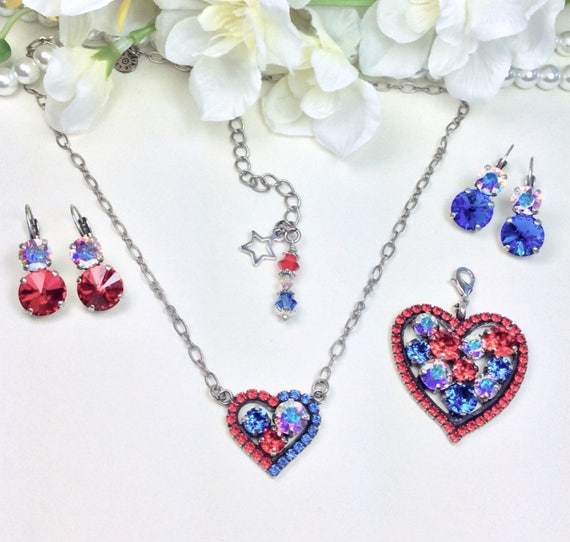 "Swarovski Crystal "" Stars & Stripes ""Heart Pendant, Large Add-On Heart and Earrings-""  Bright Red, AB, and Sapphire Blue - FREE SHIPPING"