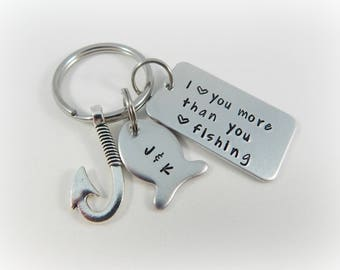 I love you more than you love fishing - Personalized Hand Stamped Fishing Keychain - Boyfriend Gift - Anniversary - Valentine's Day - kg357