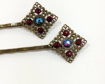 Swarovski Crystal Hair Pins - Antique Gold Crystal Hair Pins - Shakespeare Themed Hair Pins - Helena