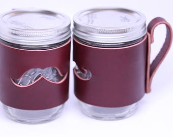 Handcrafted in USA: Mason Jar Cuff with handle. Thick Leather with Mustache cut-out. Ball Jar sleeve wrap pint
