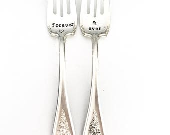 "vintage ""forever & ever"" hand stamped wedding forks"