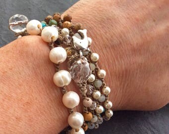 Pearl crochet bracelet - classic layering bracelet, organic freshwater pearls, gift for her by mollymoojewels.