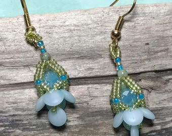 Blue Beaded Earrings Light Blue Earrings Beadwork Earrings Aqua Beaded Earrings Seed Bead Earrings Beadwoven Earrings Blue Beaded Dangles