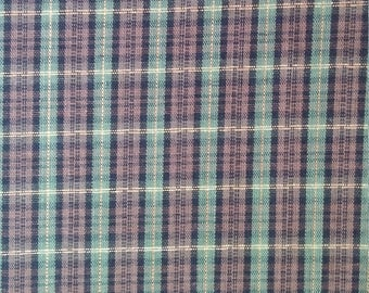 Olive Green and Brown Plaid Fabric with gold metalic thread, yardage