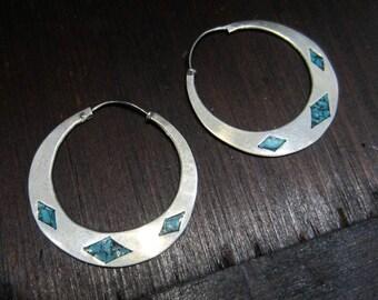 Vintage Hoop Earrings, Turquoise Hoop Earrings Sterling Silver, Taxco Mexico c. 1970, Antique Hoops Earrings, Vintage Earrings