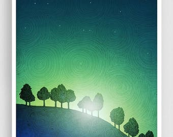 30% OFF SALE: First streak of dawn (green version) - Mixed media illustration Nature Art Prints Posters Home decor Living room decor Blue Ar