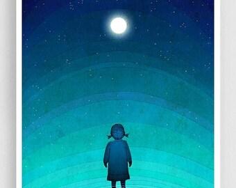 30% OFF SALE: Illustration - Moonlight - Art illustration Giclee Art print decor Moon Stars Night Turquoise Blue Home decor Nursery prints K