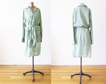 Vintage Robe / Vintage Pajamas / Bath Robe / Vintage Dressing Gown / Pajama Dress / Mint Green Robe / 60s Clothing / Sleep Shirt