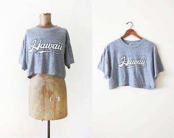 Vintage Hawaii Shirt - Crop Top T Shirt - 80s Shirt - Heather Gray T Shirt - Tri Blend Shirt - 80s Clothing - Athletic Shirt - S M