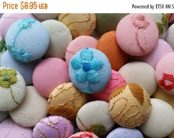 """ON SALE 25% OFF 3 Dozen Vintage 1960's Pastel Embroidered Fabric Self Shank Buttons 