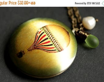 BACK to SCHOOL SALE Hot Air Balloon Necklace. Balloon Locket Necklace. Bronze Necklace with Green Glass Teardrop and Fresh Water Pearl. Hand