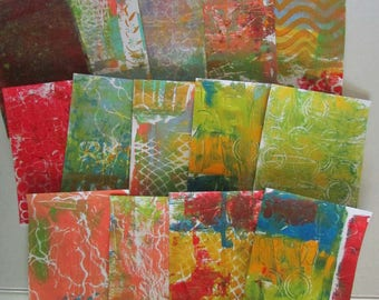 gelli print doodle paper altered art journal pages 14 pages 5.5 x 7.5