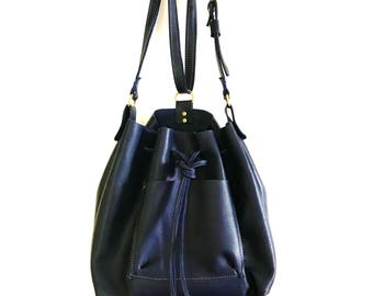 Navy Leather Bucket Purse Convertible Backpack
