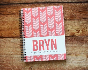 Baby Book - Personalized Baby Book - Modern Baby Book - Baby Album - Feather Arrows - Coral