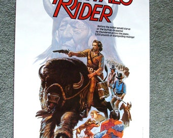 NOS 1977 Original Movie Poster, Buffalo Rider, Big Flop That Landed It on RiffTrax, Great Color and Graphics!