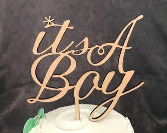 It's a Boy Baby Shower Rustic Wood Cake Topper