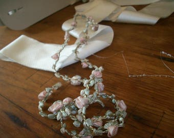 rare antique authentic ribbon work silk /metal Garland
