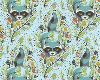 Tula Pink Raccoon, Sky Blue, Acacia Raccoon by the half yard - Free Spirit Tula Pink Acacia Collection - Out of Print