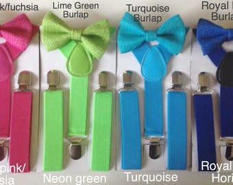 Boys bow tie lime green Suspenders Jute kids Bowties Toddler Necktie Royal Blue Mens bowtie Wedding Ring Bearer Outfit kids braces bow ties